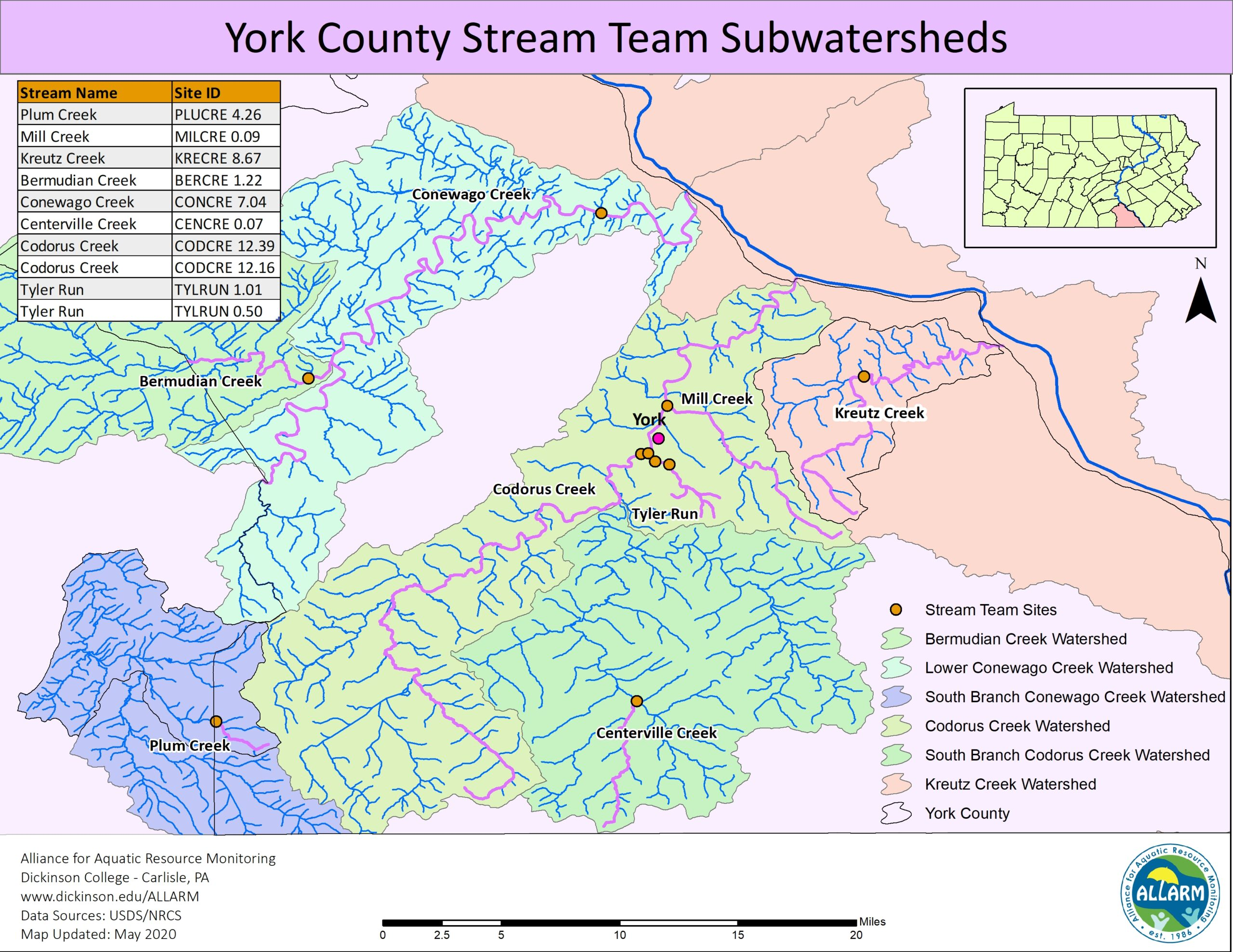 York County, PA watersheds map